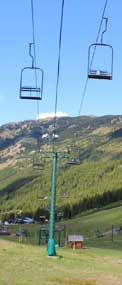 chairlifts in the summer - looking down on the Crystal Mountain Ski Resort